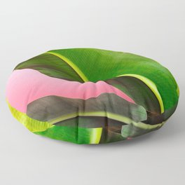 Banana Palm Leaves Pink Background Floor Pillow