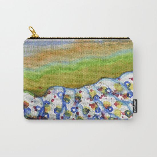 Curved Hill with Blue Rings Carry-All Pouch