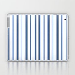 Mattress Ticking Wide Striped Pattern in Dark Blue and White Laptop & iPad Skin