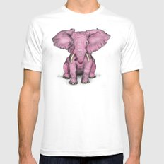 Pink Elephant and Roger MEDIUM Mens Fitted Tee White