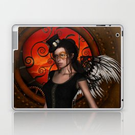 Wonderful steampunk lady with wings and hat Laptop & iPad Skin