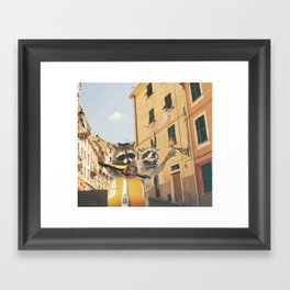 Raccoons on the road trip Framed Art Print