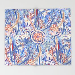 Boho Flower Burst in Red and Blue Throw Blanket