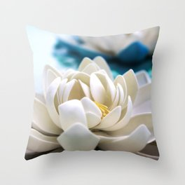 Flowers on the pond Throw Pillow