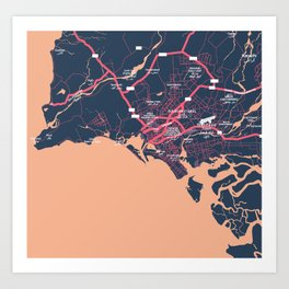 Minimalist Modern Map of Karachi, Pakistan 9 Art Print