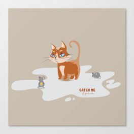 Ginger Cat and Mice Catch me If You Can Canvas Print