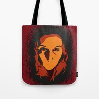 horror Tote Bags featuring Horror by Square Lemon