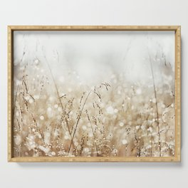 Dewdrop Nature Photography, Neutral Dew Drop, Gold White Brown Beige, Cream Water Drops Serving Tray