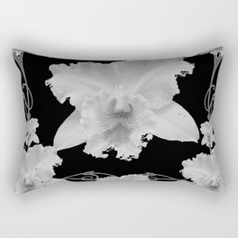 WHITE CATTLEYA ORCHIDS IN BLACK & WHITE ART Rectangular Pillow
