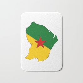French Guiana Map with French Guianan Flag Bath Mat