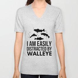 I am easily distracted by Walleye black dark soul shark Unisex V-Neck