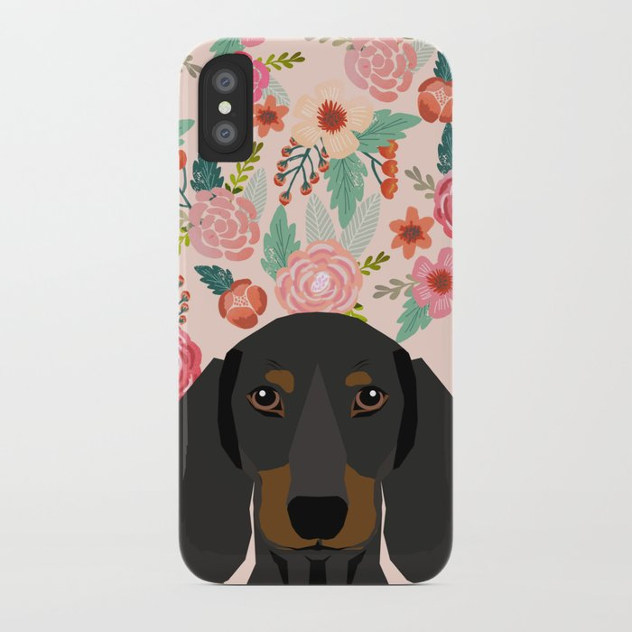 Dachshund florals cute pet gifts black and tan dachshund gifts for dog lover with weener dog iPhone Case by petfriendly | Society6
