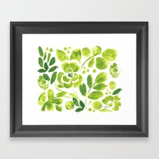 Citron Green Floral Framed Art Print