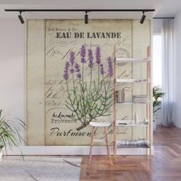 Lavender Antique Rustic Flowers Vintage Art Wall Mural