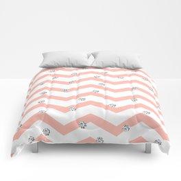 Geometrical coral white silver glitter polka dots Comforters