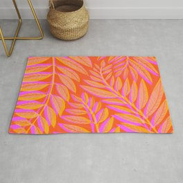 Hot Tropics - Orange Pink Tropical Vines Rug