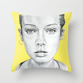 Lady Portrait Throw Pillow