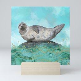 Cute Alaskan Iliamna Seal in Banana Pose Mini Art Print