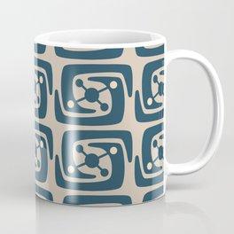 Mid Century Modern Galaxy Pattern Peacock Blue and Beige Coffee Mug