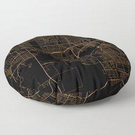 Black nd gold Des Moines map Floor Pillow