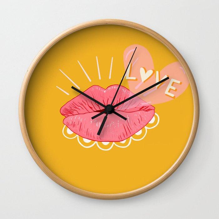 Kissing Lips & Love Bubbles Wall Clock