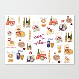Paris Food Map Canvas Print