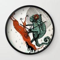 chameleon Wall Clocks featuring CHAMELEON by taniavisual