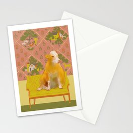 Farm Animals in Chairs #1 Cow Stationery Cards