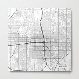 Wichita Map, USA - Black and White Metal Print