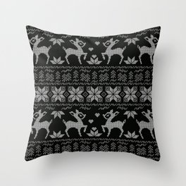 Christmas black and white, the embroidered pattern. Throw Pillow