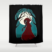 red riding hood Shower Curtains featuring Red Riding Hood 2 by Freeminds