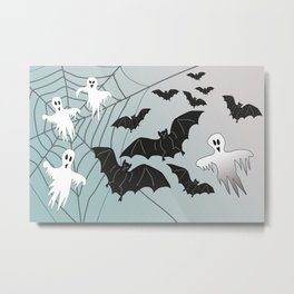 Bats & Monsters Halloween Spider Web Metal Print