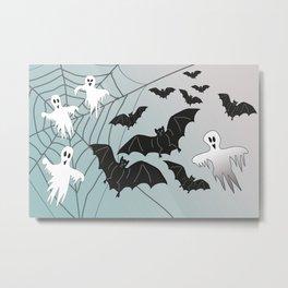 Bats & Monsters Halloween Spider Web Metal Print