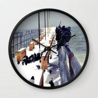 pigeon Wall Clocks featuring Pigeon by Toni Tylicki
