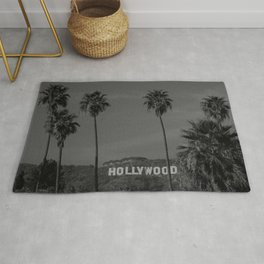 Hollywood Sign, Los Angeles, California black and white photograph / black and white photography Rug