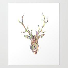 Upcycled Reindeer Art Print