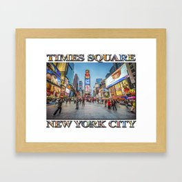 Times Square Sparkle (with typography) Framed Art Print
