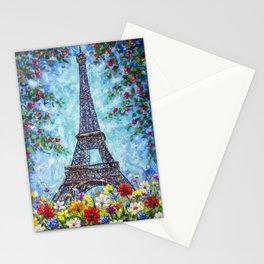 Handmade painting Spring Eiffel Tower Paris in Flowers Original art for Sale. Artist Valery Rybakow Stationery Cards