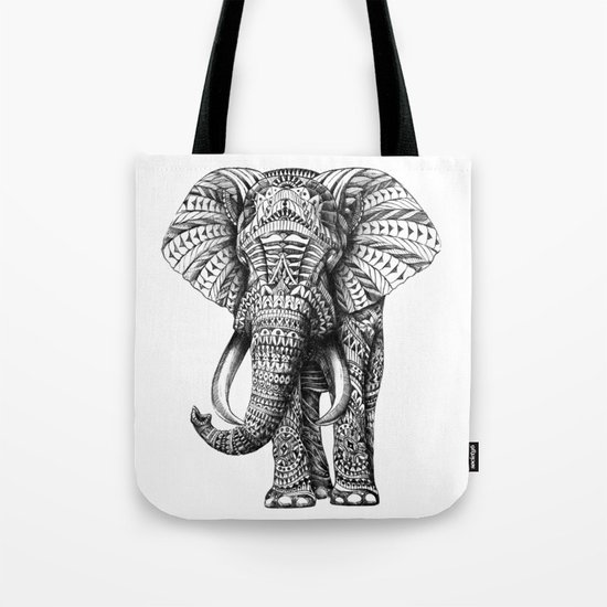 Ornate Elephant Tote Bag