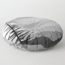 Rainbow clouds at the mountains at sunrise. BW Floor Pillow
