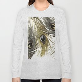 Gold and Silver Peacock Feathers Long Sleeve T-shirt