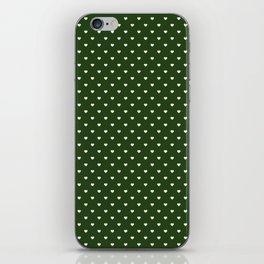 Small White Polka Dot Hearts on Dark Forest Green iPhone Skin