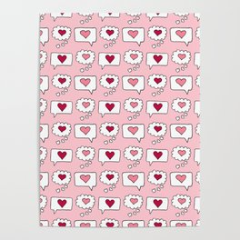 Doodle hearts and speech bubbles with a light pink background Poster
