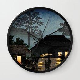 Tsuchiya Koitsu - Long Spell of Rain - Japanese Vintage Woodblock Painting Wall Clock