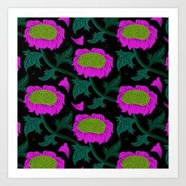Night Foliage - pink Art Print