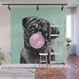 Bubble Gum Black Pug in Green Wall Mural
