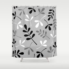 Assorted Leaf Silhouettes Monochrome Shower Curtain