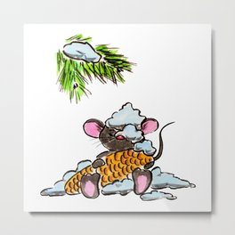 Christmas and New Year mouse with a cone Metal Print