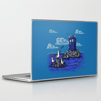 hallion Laptop & iPad Skins featuring The Seagulls have the Phonebox by Karen Hallion Illustrations