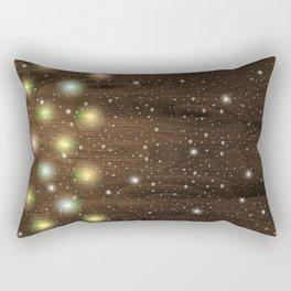 Christmas lights on wooden background Rectangular Pillow